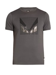 Fendi Bag Bugs Embellished Cotton Jersey T Shirt Grey