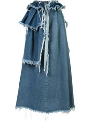 Off White Frayed Denim Skirt Blue