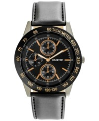Unlisted Men's Chronograph Black Synthetic Leather Strap Watch 46Mm 10027781