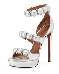 Alaia Bombe Metallic Platform Sandals Gray