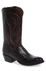 Lucchese Men's 'Montana' Genuine Ostrich And Calfskin Western Boot Black Cordovan