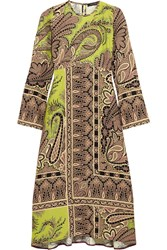 Etro Paisley Print Crepe Midi Dress Chartreuse Brown