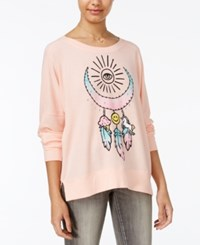 Rampage Juniors' Dreamcatcher Oversized Graphic Sweatshirt Pink Heather