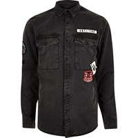 River Island Mens Black Washed Badge Denim Shirt