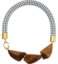 Marni Wood And Nautical Cord Necklace Diamante