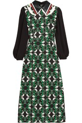 Miu Miu Leather Trimmed Printed Crepe Midi Dress Green