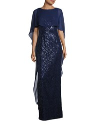 Teri Jon Sequined Sheer Overlay Dress Navy