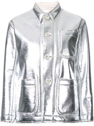 Julien David Stitch Detail Fitted Jacket Metallic