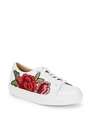 Saks Fifth Avenue Floral Leather Sneakers White