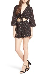 Everly Tie Front Cutout Romper Black Floral