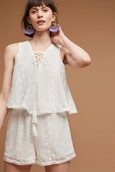 Anthropologie Sleeveless Lace Up Romper White