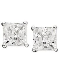 Arabella 14K White Gold Earrings Swarovski Zirconia Princess Cut Stud Earrings 3 3 4 Ct. T.W. Clear