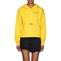 Off White C O Virgil Abloh Logo Embroidered Cotton Crop Hoodie Yellow