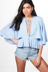 Boohoo Angel Cape Sleeve Low V Neck Top Bluebell