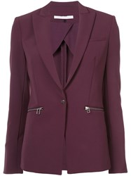 Veronica Beard Zip Pocket Blazer Nylon Spandex Elastane Pink Purple