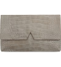 Vince Crocodile Effect Leather Clutch Stone