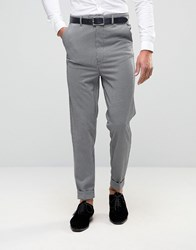 Asos Super Skinny High Waist Trousers In Grey Dogtooth Design Grey