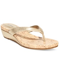 Style And Co. Haloe Wedge Thong Sandals Only At Macy's Women's Shoes Champagne
