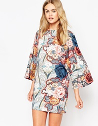 Asos T Shirt Dress With Kimono Sleeves In Floral Print