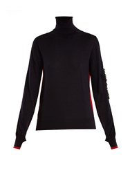 Barrie Thistle Roll Neck Contrast Panel Cashmere Sweater Navy Multi