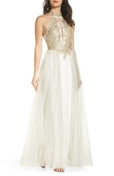 Sequin Hearts 'S Embellished Halter Gown With Tulle Overskirt Ivory Gold