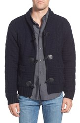 Men's Schott Nyc Cable Knit Shawl Collar Zip Cardigan Navy