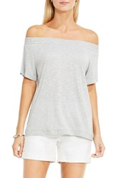 Vince Camuto Women's Two By Off The Shoulder Tee Grey Heather