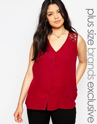 New Look Inspire Sleeveless Blouse With Lace Insert Red