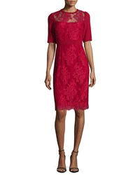 Rickie Freeman For Teri Jon Short Sleeve Lace Sheath Cocktail Dress Red