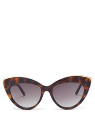 Le Specs Beautiful Stranger Cat Eye Acetate Sunglasses Khaki Multi