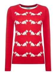 Dickins And Jones Scotty Dog Intarsia Knit Jumper Red