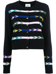 Barrie Striped Cardigan Black