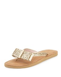 Icarda Glitter Bow Flat Thong Sandal Gold Kate Spade New York