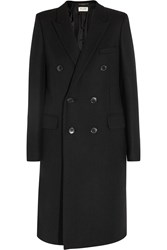 Saint Laurent Double Breasted Wool Twill Coat