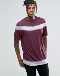 Asos T Shirt With Tie Detail And Wide Neck Trim Fig Purple