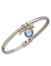 Lord And Taylor 14K Yellow Gold Sterling Silver And Blue Topaz Charm Bracelet Blue Topaz Silver