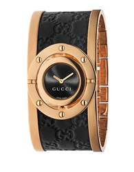 Gucci Ladies Pink Goldtone And Leather Bangle Watch Rose Gold
