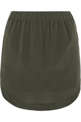 Madewell Elin Washed Silk Mini Skirt Green