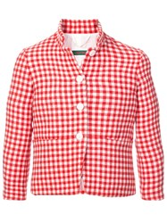 Casey Casey Checked Fitted Jacket Red