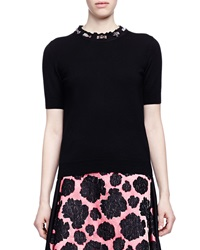 Lanvin Short Sleeve Jeweled Neck Top