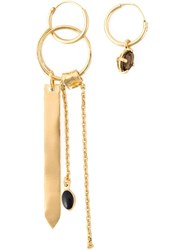 Wouters And Hendrix 'Playfully Precious' Smoked Quartz Mis Match Earrings Metallic