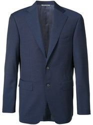 Canali Two Button Blazer Men Wool 52 Blue