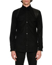 Alexander Mcqueen Wool Flannel Shirt With Leather Harness Black