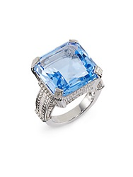 Judith Ripka Faceted Square Stone And Sterling Silver Ring Silver Blue
