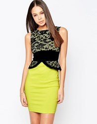 Vesper Ronnie Pencil Dress Wih Peplum And Lace Top Green