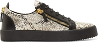 Giuseppe Zanotti Black Metallic Snake Print London Sneakers