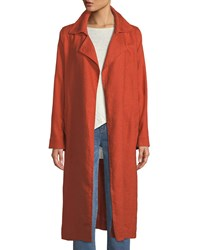 Eileen Fisher Heavy Organic Linen Trench Coat Orange Pekoe
