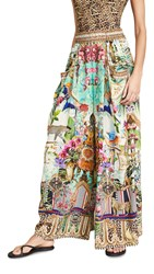 Camilla Wide Leg Pant With Gathered Pockets Champagne Coast
