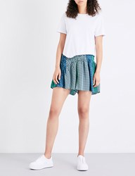 Opening Ceremony Geometric Printed Cotton And Foulard Playsuit Sailor Blue