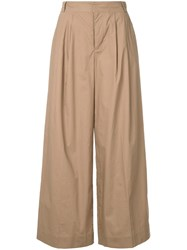 Muveil Wide Legged Cropped Trousers Women Cotton 38 Brown